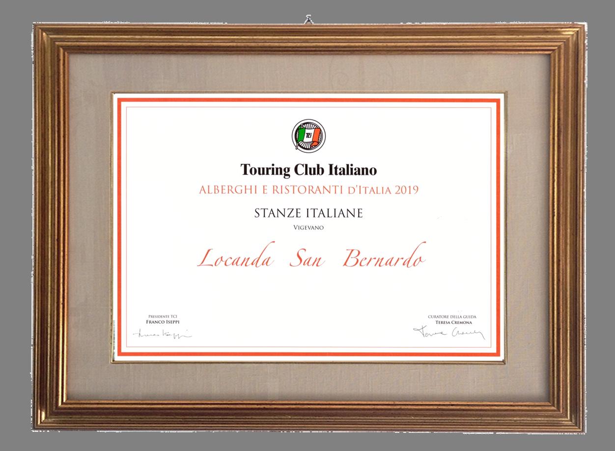 """Attestato """"Stanze Italiane"""" Touring Club Italiano"""